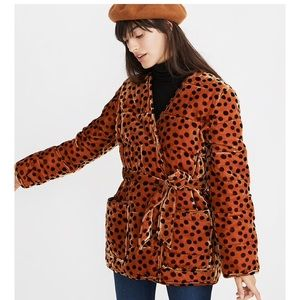 Madewell Velvet Quilted Wrap Jacket in Leopard Dot